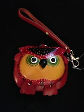 Red Leather 3-D Owl Coin Purse-Keychain-Wristlet Hawaii