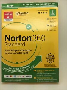 New Norton 360 Standard- 1 Year- 1 Device US Canada -Real-time Threat Protection