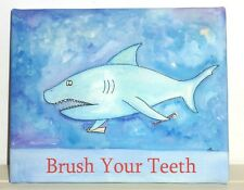 """""""Brush Your Teeth"""" Shark 8""""x10"""" Giclee' Stretched Canvas On Wood Frame, USA Made"""