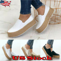 Womens Casual Wedges Platform Espadrilles Pumps Slip On Comfy Loafers Shoes Size