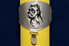 Cane Corso arm band ring number holder with clip. Dog show accessories.