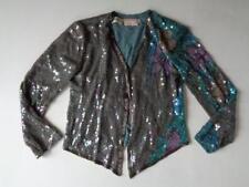 Lillie Rubin Vintage Blue Gray Sequins Set Beaded Silk Jacket & Skirt Size Small