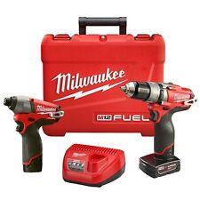 NEW MILWAUKEE 2597-22 M12 FUEL 12 VOLT CORDLESS HAMMER DRILL IMPACT DRIVER KIT