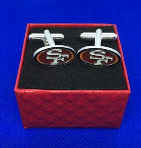 SF 49ers Cufflinks Gift set San Francisco Logo Football Cufflinks