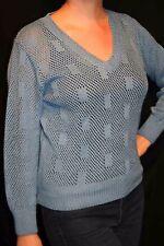 M Vtg 70s Sweater Slate Blue Open Pointelle Knit  DiFini V-Neck Boho PULLOVER