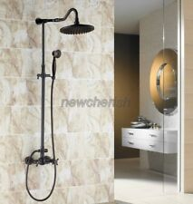 Black Oil Rubbed Brass Bathroom Shower Faucet Set Dual Handle Mixer Tap Crs705