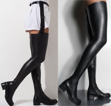 Stretch Crotch High Over Knee Flat Boots With Belt Attached