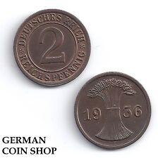 2 Reichspfennig Rame 1924 1925 1936 a D e F G J - Prego Scegliere
