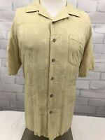 Batik Bay Men's Short Sleeve Gold Hawaiian 100% Silk Shirt Sz Large L