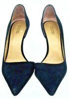 Michael Kors Nathalie D'Orsay Pump Womens Sz 7.5 M Black Suede Slip On Heel Shoe