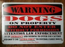 "Metal Warning Dogs on Property Sign For FENCE ,Beware Of Dog 8""x12"""