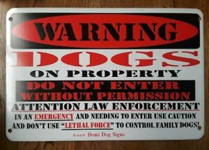 """Metal Warning Dogs on Property Sign For FENCE ,Beware Of Dog 8""""x12"""""""