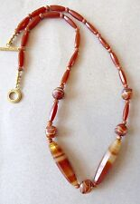 Necklace of Vintage, Rare African Banded Agate, Carnelian Trade Beads/27""