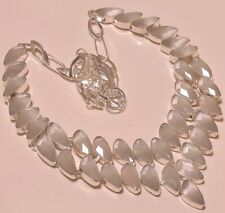 Simply Classic White  Cat's Eye 925 Silver Jewelry Statement Necklace 18""