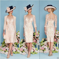 Fashion Plus Size Knee Length Mother of Bride Suit Jacket Wedding Outfit Dress