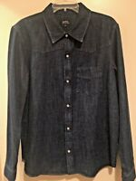 A.P.C. PARIS MENS INDIGO BLUE DENIM SNAP FRONT SHIRT SIZE XL