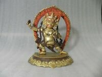 "9"" Antique Tibet Buddhism brass &copper gilt gold hand painting Vajrapani statue"