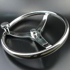 "Boat Steering Wheel 3 Spoke 13-1/2"" Dia. For SeaStar & Verado Polished Good"