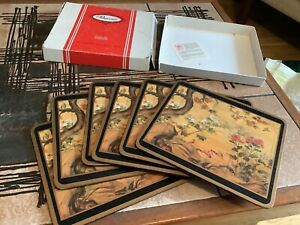 VINTAGE PIMPERNEL CHINESE SCREEN ORIENTAL SET X 6 PLACE MATS ACRYLIC CORK