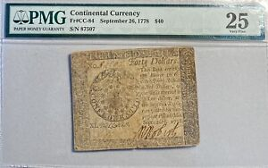 1778 Continental Currency Fr# CC-84 September 26, 1778 PMG VF 25