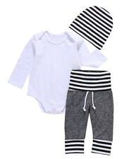 3-6 M Baby Boy  Romper Tops+Long Pants+Beanie Hats 3PCS Outfits Set Clothes US