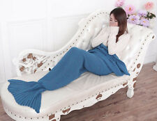 MERMAID TAIL SOFA BLANKET WARM CROCHETED KNIT LAPGHAN CREWEL COVERLET LAKE BLUE