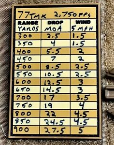 PVC Data Patch DOPE Card SWAT Sniper