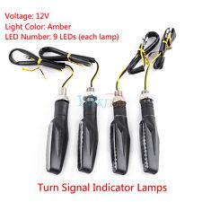 4x Motorcycle Universal Black Turn Signal LED Indicator Light Blinker Lamp Amber