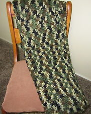 Handmade Crochet Afghan Camouflaged Throw Blanket 48 x 42 inches