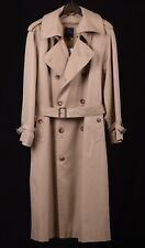 Brooks Brothers Khaki Tan Cotton Twill Cashmere Wool Lined Trench Rain Coat 44 R