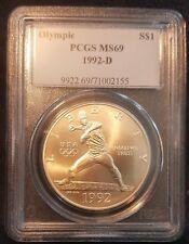 1992-D Olympics Commemorative Silver Dollar - PCGS MS69 - Baseball S$1