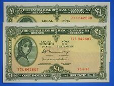 More details for 1976 irish ireland eire one pound, lady lavery £1 banknotes consecutive  [20648]