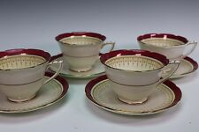 ROYAL DOULTON China Duke of York Red 4 Cups and 4 Saucers