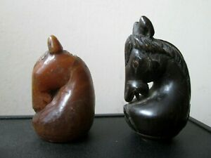 2 ANTIQUE 18th/19th Century HAND CARVED Maruk THAILAND Cambodian CHESS Pieces