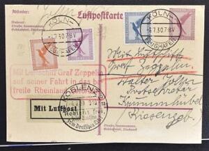 GERMANY to Czech 1930, $$$, Freed Rhineland Airmail Card Köln-Koblenz-Krummhübel