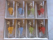 VINTAGE HAND PAINTED TUMBLERS, SET OF 8, BY FEDERAL GLASS CO. IN ORIGINAL BOX