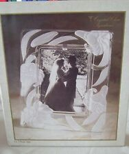 Vintage Crystal Clear Signatures 5 X 7 Photo Frame Japan Frosted Flowers