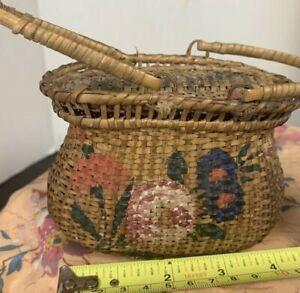 victorian wicker basket bag floral flower primitive antique vintage woven small