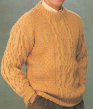 Mens Crew Neck Sweater Jumper Cable Detail DK Knitting Pattern 36-44 inch chest