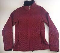 Columbia Women's Zip up Medium Jacket Coat with Fur Collar Burgundy Red Cute