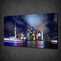 SHANGHAI CHINA PANORAMA NIGHT SKYLINE BOX CANVAS PRINT WALL ART PICTURE