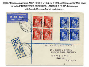 20057: Morocco Agencies, 1937, KEVIII on Registered Air Mail Cover…