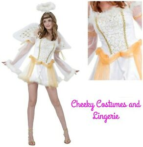 Angel costume Including Wings & Halo Christmas Xmas Size 10-14 White & Gold