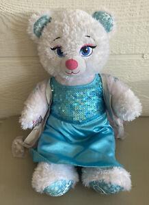 "Build a Bear Elsa Disney Frozen Sparkly Blue 18"" Plush with Dress"