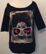Women's Black Cotton Retro Shirt '4 Eyes' by Hak | Size M