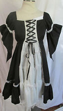 Gothic Lolita Black White Maid Dress Elegant EGL Goth Angel Sleeves M NEW NWT