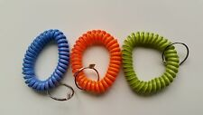 100 - Multi-Colored Coil Key Chains - Wrist Spiral Stretchable Ring Elastic