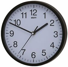 Modern Wall Clock Silent Sweep Home Office Quartz Battery Black Unity Radcliffe