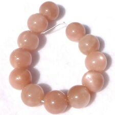 12 LARGE SHINY PEACH Sunstone Moonstone Round Stone Beads 14mm K4513