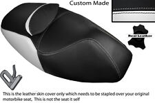 WHITE & BLACK CUSTOM FITS APRILIA ATLANTIC 125 250 DUAL LEATHER SEAT COVER ONLY